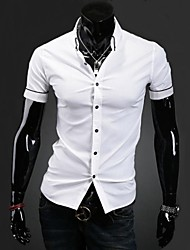Men's Solid Casual Shirt,Cotton / Polyester Short Sleeve Black / White