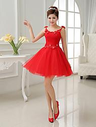 A-line/Princess Scoop Short Mini Bridesmaid Dress