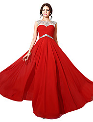 Formal Evening Dress A-line Bateau Floor-length Chiffon with Beading