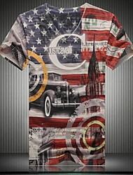 Men's V-neck Hot Fashion Casual 3D Printing Short sleeve T-shirt