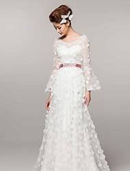 A-line Court Train Wedding Dress -Scoop Satin