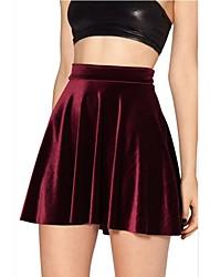 SMK Women's Red Velvet Umbrella Skirt