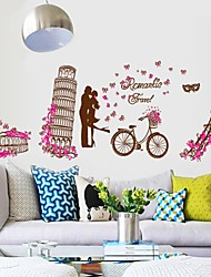 stickers muraux autocollants de mur, romantique architecture mondiale murales tour eiffel pvc autocollants