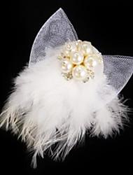 Fashion White Feather Rhinestone Brooch/Barrettes For Women