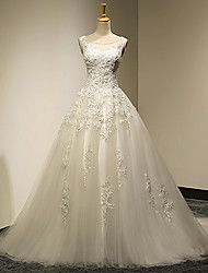 Ball Gown Plus Sizes / Petite Wedding Dress - White Sweep/Brush Train Scoop Lace / Tulle