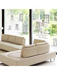 decalques de parede adesivos de parede, estilo preto e branco falso janelas em PVC adesivos de parede