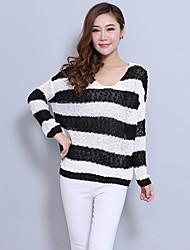Aux femmes Casual/Soirée Extensible Epais Manche longue Pull ( Coton/Tricot )