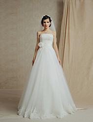A-line Cathedral Train Wedding Dress -Strapless Lace