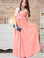 Ankle-length Chiffon Bridesmaid Dress Ball Gown Sweetheart with Sash / Ribbon