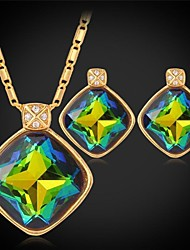 Fancy Luxury Shiny Mystic Topaz SWA Rhinestone Stone Pendant Necklace 18K Gold Plated Jewelry for Women High Quality