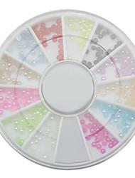 12 couleurs 2mm perle nail art pierre petits strass roues perles, dropshipping Vente en gros clou roue de perle