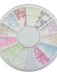 12 Colors 2mm Pearl Nail Art Stone Small Wheel Rhinestones Beads, Dropshipping Wholesale nail pearl wheel