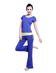 azul de manga corta traje de la aptitud del yoga