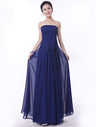 Floor-length Bridesmaid Dress - Royal Blue Sheath/Column Strapless