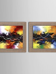 Oil Painting Modern Abstract  Set of 2 Hand Painted Natural linen with Stretched Frame