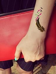 Número impermeável 1pc série multicolorida verde fluorescente arabia andorinha padrão dourado etiqueta do tatuagem