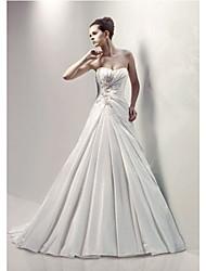 A-line Wedding Dress Court Train/Floor-length Sweetheart Satin Chiffon