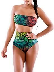 verde sexy estilo europeu deixa padrão impresso duas peças swimsuit