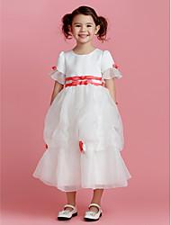 A-line Tea-length Flower Girl Dress - Polyester