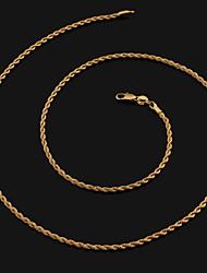 corde chaînes 60cm hommes plaqué or or colliers de chaîne (de 2 mm de largeur)