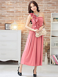 Ankle-length Silk Bridesmaid Dress - Champagne / Black / Watermelon Ball Gown Sweetheart