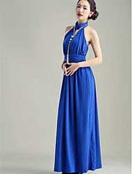 Ankle-length Silk Bridesmaid Dress - Royal Blue / Black Ball Gown Sweetheart