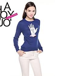 haoduoyi® женщин тонкий узор ладони печатных ребра подол Crewneck шик вязать свитер
