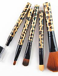 5pcs cheveux de nylon Léopard d'or poignée de conception cosmétique de maquillage Brosse Set