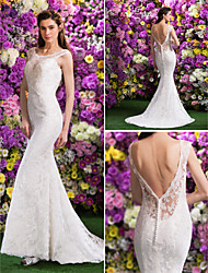 Lan Ting Trumpet/Mermaid Wedding Dress - Ivory Court Train Scoop Lace