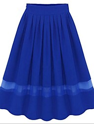 Women's Blue/Pink/White/Black Skirts , Casual Midi