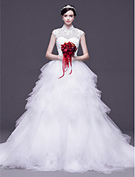 A-line,Princess Sweep/Brush Train Wedding Dress -High Neck Tulle