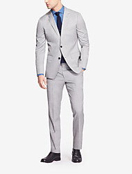 Light Gray Solid Tailored Fit Suit In Cashmere&Wool Two-Piece
