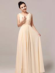 Formal Evening Dress - Champagne A-line V-neck Floor-length Nylon Taffeta