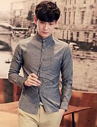 Men's Solid Casual / Work Shirt,Linen Long Sleeve Blue / Gray