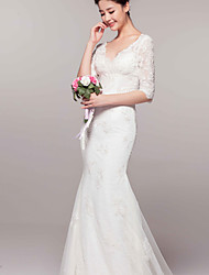 Trumpet / Mermaid Wedding Dress - Reception Court Train V-neck Lace with