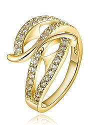 18 k plaqué or géométrie environnement anneau bande de diamant (plus de couleurs)