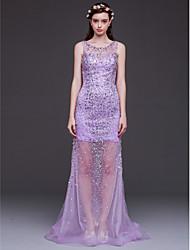 Formal Evening Dress - Lilac Sheath/Column Scoop Floor-length Tulle