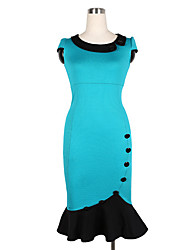XinYuanGe® Women's Turn Down Collar Rivet Ruffle Dress