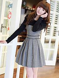 bonito vestido cor de contraste de Leto mulheres