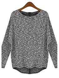 Women's Long Sleeve Loose Back Zipper Knitted Sweater