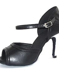 latin anpassbare Frauen Sandalen Leder Tanzschuhe