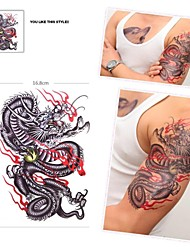 1Pc Waterproof Multicolored Large Colorful Dragon Pattern Tattoo Stickers