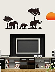 Wall Stickers Wall Decals, Vintage Black Elephant PVC Wall Stickers