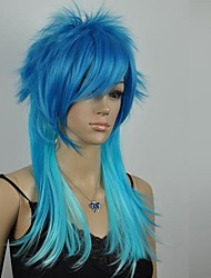 Women's  Excellent Blue Mixed Straight Long Cosplay Wig