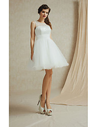 Knee-length Bateau Bridesmaid Dress - Short Sleeveless Lace Satin