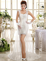 Sheath / Column Wedding Dress Two-In-One Wedding Dresses Short / Mini Sweetheart Lace with