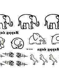 2 stk Yimei tatovering klistermærker vandtæt dyr serien kvinder / piger / mænd / voksen / dreng / teenager sort elefant mønster 17cm * 16cm