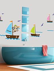 parede adesivos de parede adesivo, desenhos animados veleiro macaco banheiro à prova d'água adesivos