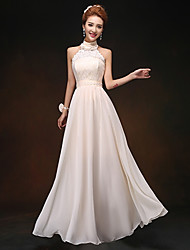 Floor-length Chiffon Bridesmaid Dress - Champagne Sheath/Column High Neck