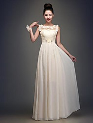 Floor-length Chiffon Bridesmaid Dress - Champagne A-line Bateau